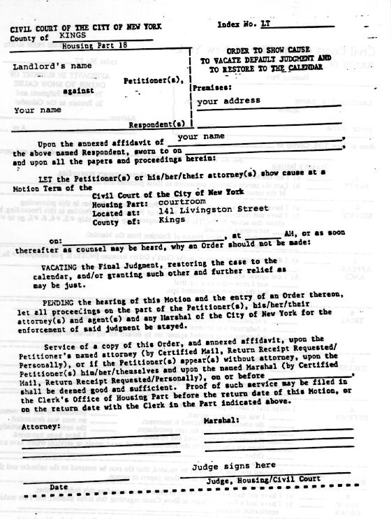 A Tenantu0027s Guide To Housing Court  How To Make A Eviction Notice